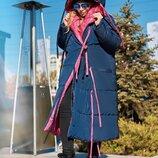 Пуховик двусторонний женский зима батал плащевка силикон 300 золото серебро розовый бежевый
