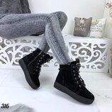 Зимние замшевые ботинки Fashion, зимние ботинки с замком 36-40р. код 316