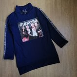 Батник-Туника с карманами для девочки подростка. Ткань трехнитка начес. Цвет синий, бордо