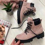 Вт552148З Зимние женские замшевые ботинки на шнурках розовые