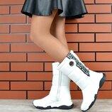 Кс221077З Зимние женские кожаные сапоги дутики белые