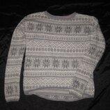 11-12 лет, тёплый красивый свитер с ангоркой и орнаментом девочке