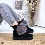Зимние ботинки с опушкой, замшевые зимние ботинки 36-40р код 927