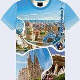 Мужская футболка 3D Фотографии Барселоны Большой выбор