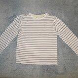 Нежно-Розовая футболка Bluezoo в тонкую коричневую полоску на девочку 7-8 лет. Рост 122-128 см.