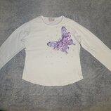 Белая футболка Next с бабочкой на девочку 8 лет. Рост 128 см.