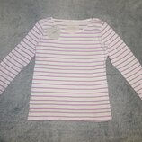 Белая футболка Next в сиреневую полоску на девочку 9 лет. Рост 134 см.