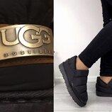 35-41, 42, 43, 44р Ugg Угги уги дутики короткие черные женские ботинки батал слипоны зимние на меху