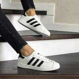 Кроссовки женские Adidas Gazelle белые с черным 8502