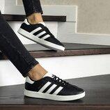 Кроссовки женские Adidas Gazelle черные с белым 8501