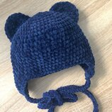 Шапка с ушками вязаная ручная работа темно-синяя велюр новая теплая handmade