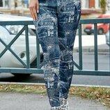 Лосины с джинсовым принтом 1232. M, L, XL, XXL