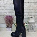 Женские стильные сапоги ботфорты на каблуке