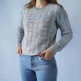 Хлопковый меланж свитер джемпер в косичку от h&m