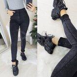 Джинсы женские Американка темно-серая на флисе New jeans 3538. Размеры 25-30