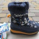 22-27р новые зимние термо ботинки термики сапожки B&G Би джи на овчине мальчику синие