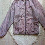 Серая белая ветровка куртка на молнии в клетку с капюшоном карманами батал большой размер