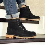Зимние мужские ботинки Timberland черные 8544