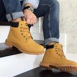 Зимние мужские ботинки Timberland горчичные 8547