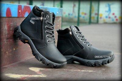 Детские подростковые зимние ботинки кожаные две молнии прошиты идеальная обувь для зимы