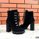 2069 Замшевые ботинки на каблуке 36-40 р чёрный