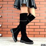 2063 Шикарные замшевые сапоги ботфорты 36-40 р чёрный