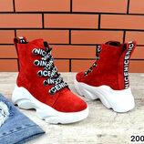 2004 Замшевые ботинки на шнуровке 36-41 р красный