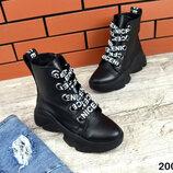 2005 Кожаные ботинки на шнурповке 36-41 чёрный
