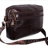 Кожаная сумка мужская через плечо для документов А4 ноутбука Bon3923-2 коричневая 36х25см