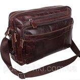 Кожаная мужская сумка через плечо PRE1863 коричневая для документов А4 ноутбука 36х25см