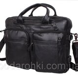 Мужская сумка кожаная PRE1710 черная через плечо для документов А4 ноутбука 39х31см