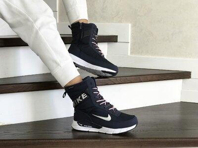 Зимние женские сапоги Nike темно синие 8558