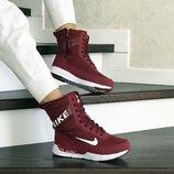 Зимние женские сапоги Nike burgundy 8557