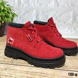 Красные демисезонные ботинки натуральный нубук