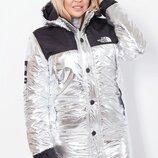 Куртка женская деми плащевка батал синтепон серебро