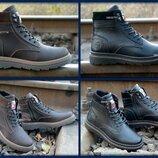 Кожаные зимние мужские ботинки молния высокие шерсть для суровых условий