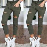 Стильные брюки леггинсы ткань джинс бенгалин с разрезами хит продаж Next 4 цвета скл.10 арт.150