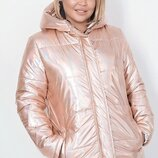 Куртка женская зимняя батал плащевка холлофайбер 200 персик