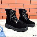 2057 Замшевые молодёжные ботинки на шнуровке 36-40 р чёрный