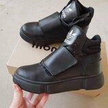 Классные стильные зимние кожаные ботинки хайтопы кроссовки на меху кеды Adidas