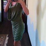 С биркой Платье по фигуре, цвет оливы, р.с/м/л