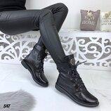 Акция Женские зимние кожаные ботинки Philipp Plein