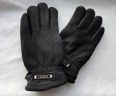 Мужские флисовые перчатки Thinsulate черные с манжетом