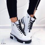Женские белые ботинки кожа натуральная