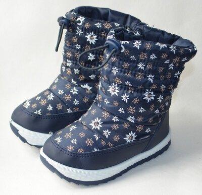 Детские зимние дутики на зиму сапоги для девочки синие 22р - 26р ромашки 2594