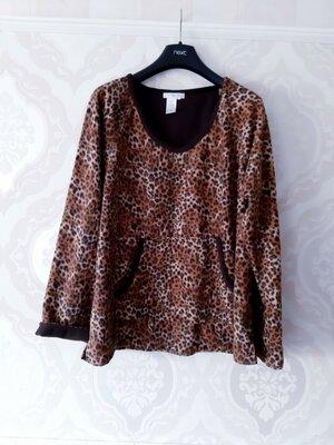 Размер XL Красивая фирменная флисовая пижамная домашняя кофта