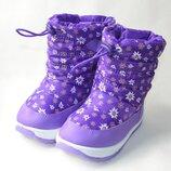 Детские зимние дутики на зиму сапоги для девочки фиолетовые 22р - 26р ромашки 2584