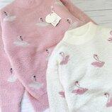 теплый пушистый свитер для девочки фламинго