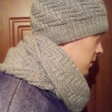 Мужская зимняя шапка снуд