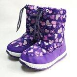 Детские дутики зимние сапоги на зиму для девочки фиолетовые Сердечки 27р-31р 4155